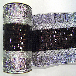 4 Inch x 10 Yard Pewter Sequin Weave Christmas Ribbon