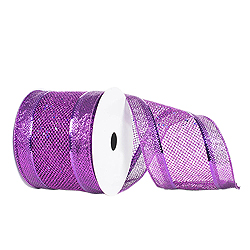 4 Inch x 10 Yard Purple Diamond Mesh Edged Christmas Ribbon