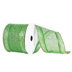 4 Inch x 10 Yard Lime Green Diamond Mesh Edged Christmas Ribbon