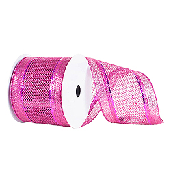 4 Inch x 10 Yard Fuchsia Diamond Mesh Edged Christmas Ribbon