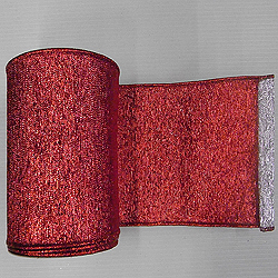 6 Inch x 10 Yard Red Silver Shiny Weave Christmas Ribbon