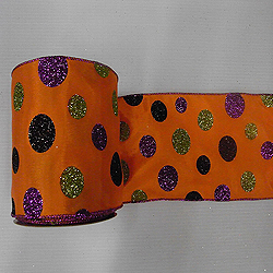 30 Foot Orange Glitter Polka Dot Ribbon 4 Inch Width