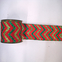 30 Foot Red Lime And Green Chevron Ribbon