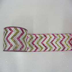 30 Foot White Lime And Fushia Chevron Ribbon