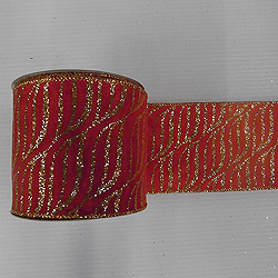 30 Foot Red And Gold Zebra Ribbon 2.5 Inch Width