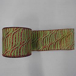 30 Foot Lime And Red Zebra Ribbon 2.5 Inch Width