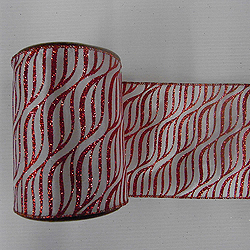 30 Foot White And Red Zebra Ribbon 2.5 Inch Width