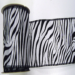 30 Foot White And Black Velvet Zebra Ribbon 2.5 Inch Width