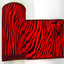 30 Foot Red And Burgundy Velvet Zebra Ribbon 2.5 Inch Width