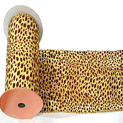 30 Foot Gold Lame Velvet Brown Leopard Ribbon 2.5 Inch Width