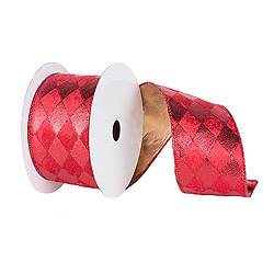 30 Foot Red Diamond Gold Ribbon 6 Inch Width