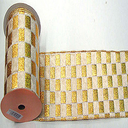 30 Foot Gold And Cream Checkered Lame Ribbon 2.5 Inch Width