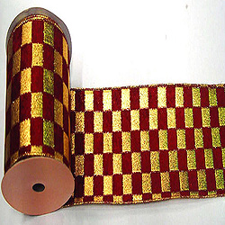 30 Foot Gold And Burgundy Checkered Lame Ribbon 2.5 Inch Width