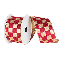 30 Foot Gold And Burgundy Checker Ribbon 6 inch Width