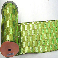 30 Foot Sage Check Gold Lame Ribbon 4 Inch Width