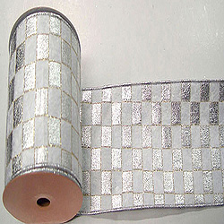 30 Foot Silver And White Checkered Lame Ribbon 2.5 Inch Width