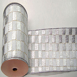 30 Foot Silver And White Check Gold Lame Ribbon 6 inch Width