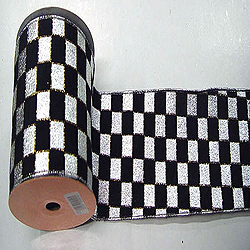 30 Foot Silver And Black Check Lame Ribbon 4 Inch Width