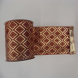 30 Foot Gold And Copper Diamond Lame Fabric Ribbon 6 Inch Width