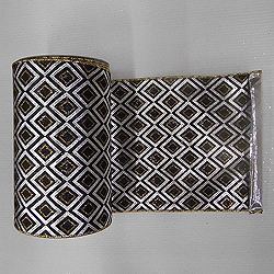 30 Foot Silver And Black Diamond Lame Fabric Ribbon 6 Inch Width