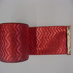 30 Foot Red Chevron Gold Lame Ribbon 2.5 Inch Width