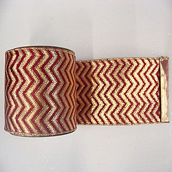 30 Foot Red And Burgundy Chevron Lame Ribbon 4 Inch Width