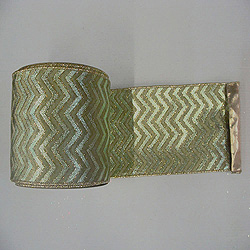 30 Foot Sage Chevron Gold Lame Ribbon 2.5 Inch Width