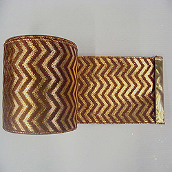 30 Foot Gold And Copper Chevron Lame Fabric Ribbon 6 Inch Width