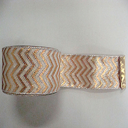 30 Foot Red And Cream Chevron Lame Ribbon 4 Inch Width