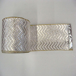 30 Foot Silver And White Chevron Lame Fabric Ribbon 6 Inch Width