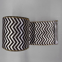 30 Foot Silver And Black Chevron Lame Fabric Ribbon 6 Inch Width