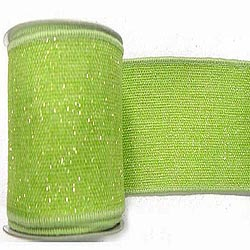 30 Foot Lime Sparkle Burlap Ribbon 2.5 Inch Width