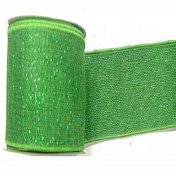 30 Foot Green Sparkle Burlap Ribbon 2.5 Inch Width