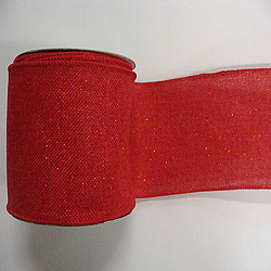 30 Foot Red Sparkle Burlap Ribbon 4 Inch Width
