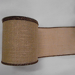 30 Foot Natural Burlap Brown Edge Ribbon 6 Inch Width