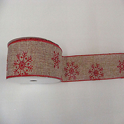 30 Foot Natural Burlap Red Snowflake Ribbon 4 Inch Diameter