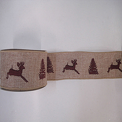 30 Foot Natural Burlap Brown Decorated Ribbon 2.5 Inch Width