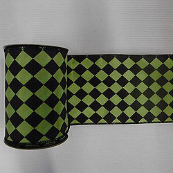 30 Foot Black And Lime Diamond Ribbon 4 Inch Width