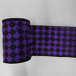 30 Foot Black And Purple Diamond Ribbon 4 Inch Width