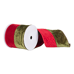 30 Foot Red And Green Velvet Ribbon 6 Inch Width