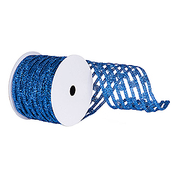 6 Inch x 10 Yard Blue Metallic Rectangle Wired Mesh Christmas Ribbon