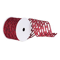 6 Inch x 10 Yard Red Metallic Rectangle Wired Mesh Christmas Ribbon