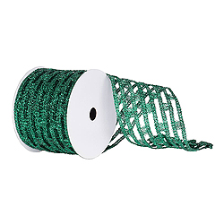6 Inch x 10 Yard Emerald Metallic Rectangle Wired Mesh Christmas Ribbon