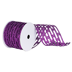 6 Inch x 10 Yard Purple Metallic Rectangle Wired Mesh Christmas Ribbon