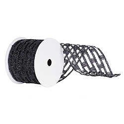 6 Inch x 10 Yard Black Metallic Rectangle Wired Mesh Christmas Ribbon