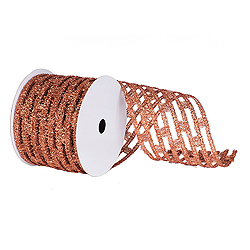 6 Inch x 10 Yard Copper Metallic Rectangle Wired Mesh Christmas Ribbon