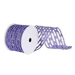 6 Inch x 10 Yard Lavender Metallic Rectangle Wired Mesh Christmas Ribbon