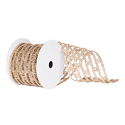 6 Inch x 10 Yard Champagne Metallic Rectangle Wired Mesh Christmas Ribbon