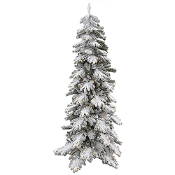 7 Foot Flocked Vail Pine Artificial Christmas Tree 350 Clear Lights