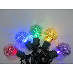 10 Multi LED G40 Tinsel Christmas Lights Green Wire